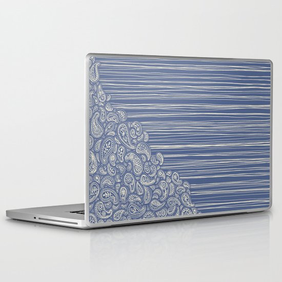 The Unraveling of Paisley Lace (in blue and cream) Laptop & iPad Skin