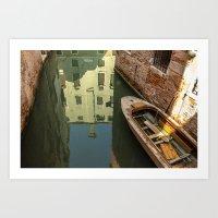 Reflections, Boats and Bricks Art Print