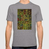 Abstract In Yellow  Mens Fitted Tee Athletic Grey SMALL
