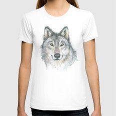Wolf  Womens Fitted Tee White SMALL