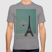 Paris Je T'aime Mens Fitted Tee Athletic Grey SMALL