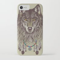 wolf iPhone & iPod Cases featuring Wind Catcher Wolf by Rachel Caldwell
