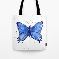 Butterfly Watercolor Blue Painting Tote Bag