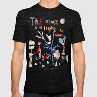 The Time To Be Happy Is Now Mens Fitted Tee Tri-Black SMALL