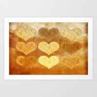 Hearts In Sepia Art Print