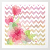 Chevron Flowers Art Print