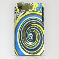 iPhone 3Gs & iPhone 3G Cases featuring Yellow, Blue, and Black Swirl by Jessielee