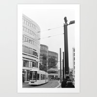 Trams Through Dusseldorf Art Print