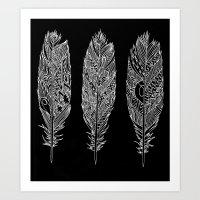 Patterned Plumes - White Art Print