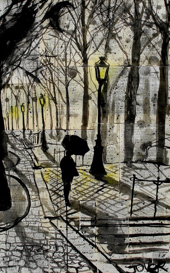 walking in montmartre Art Print
