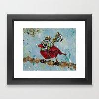 Cardinal Blaze Framed Art Print