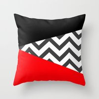 Color Blocked Chevron 10 Throw Pillow