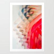 Art Print featuring Minimal Red Beauty Lines by Elena Kulikova