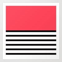 Black and White Stripe Infra Red Pattern Art Print