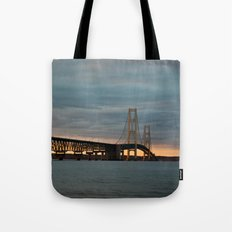 Sunset at the Mackinac Bridge Tote Bag