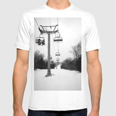 Up The Mountain White SMALL Mens Fitted Tee
