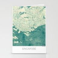 Singapore Map Blue Vinta… Stationery Cards