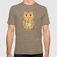 Woodland Owl in a Tree Mens Fitted Tee Tri-Coffee SMALL