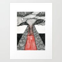 Robot Volcano Art Print