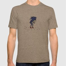Sad Sonic The Hedgehog In A Field Mens Fitted Tee Tri-Coffee SMALL