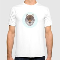 Grey wolf portrait Mens Fitted Tee White SMALL