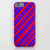 Lines 323 - Blue and Red Diagonals iPhone 6 Slim Case