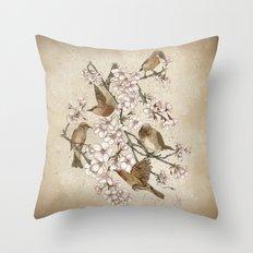 Too many birds Throw Pillow