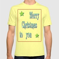 Merry Christmas Mens Fitted Tee Lemon SMALL