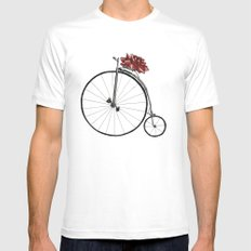 Christmas Bicycle White SMALL Mens Fitted Tee