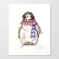 Baby Penguin In Red And … Canvas Print