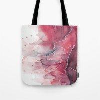 Watercolor pink & green, abstract texture Tote Bag