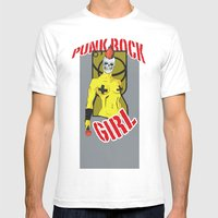 Punk Rock Girl Mens Fitted Tee White SMALL