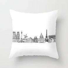 Paris Landmarks by the Downtown Doodler Throw Pillow