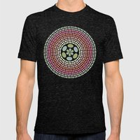 Retro floral circle 1 Mens Fitted Tee Tri-Black SMALL