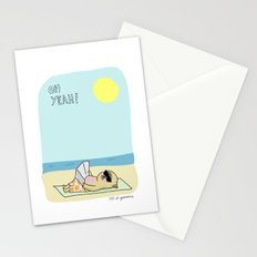 Mochi the pug sunbathing Stationery Cards