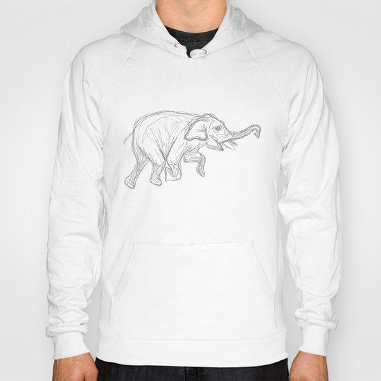 Elephant Swimming Gestural Drawing Hoody