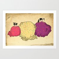 Cows Love Ice Cream Art Print