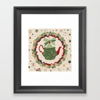 Christmas Teapot inside the Wreath  Framed Art Print