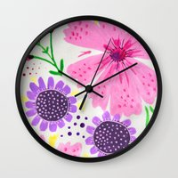Pinks - Botanical Flower… Wall Clock