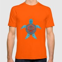 The Tribal Sea Turtle Mens Fitted Tee Orange SMALL