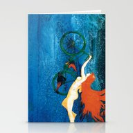 Stationery Cards featuring Bicycle Girl On The Sky by Little Ari