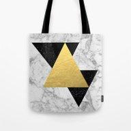 Marble Tri Black & Gold … Tote Bag
