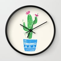 Linocut Cacti #2 in a pot Wall Clock