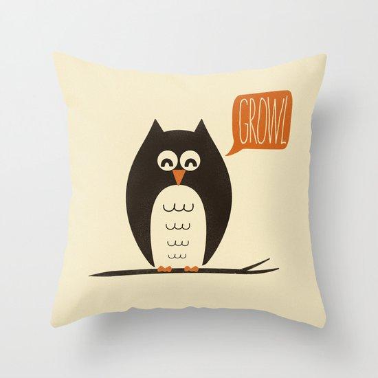 An Owl With a Growl Throw Pillow