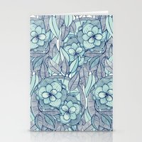 Teal Magnolias - a hand drawn pattern Stationery Cards