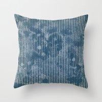 White stripes on grunge textured blue background Throw Pillow