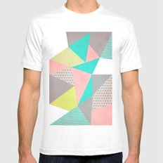 Geometric Pastel Mens Fitted Tee White SMALL