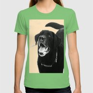 Labrador Happy Womens Fitted Tee Grass SMALL