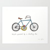 bicycle powered by a shooting star Art Print