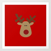 Christmas Reindeer-Red Art Print
